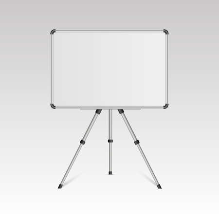 Realistic blank whiteboard on tripod stand isolated on white background. Vector Illustration