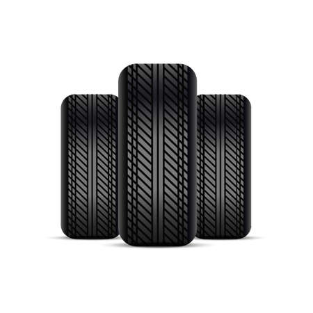 Realistic tires with shadow. Stock Illustratie