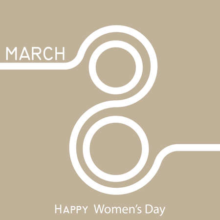 Modern 8 March greeting card. Happy Womens Day. Vector Illustration
