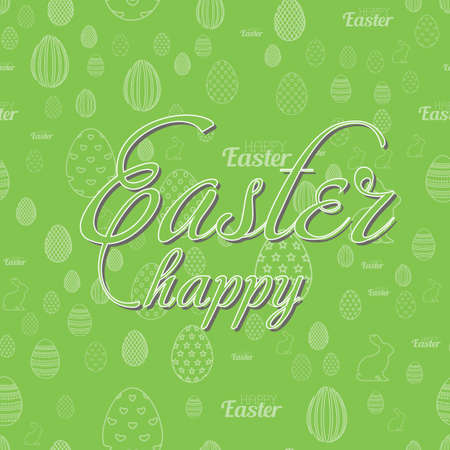 Happy Easter greeting card with handwritten text and eggs. Vector Illustration