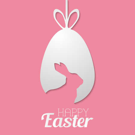 Happy Easter greeting card with white and handwritten text. Vector