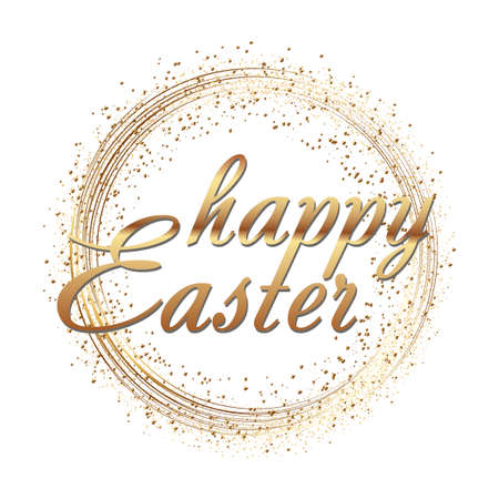 Happy Easter greeting card with gold sparkles dots and text. Vector