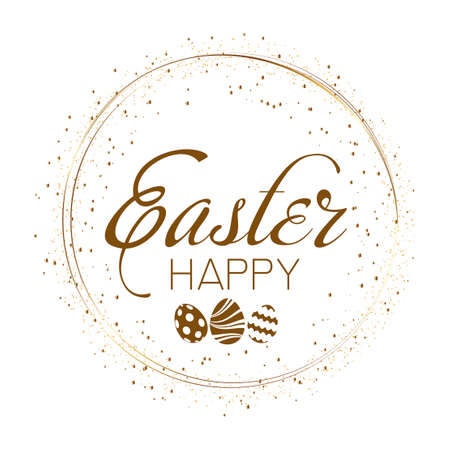 Happy Easter Greeting card with golden sparkles. Vector