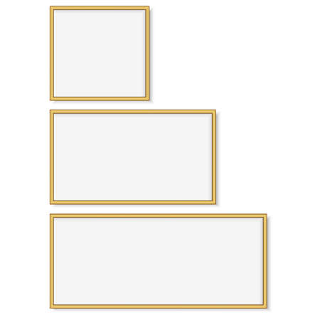 Set of gold square photo frames. Vector Çizim