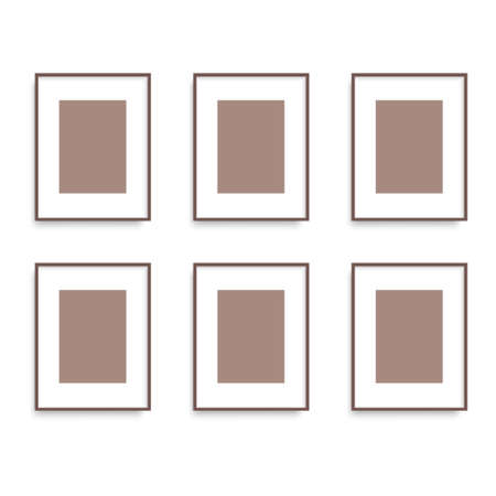 Set of brown pictures frames on the wall.