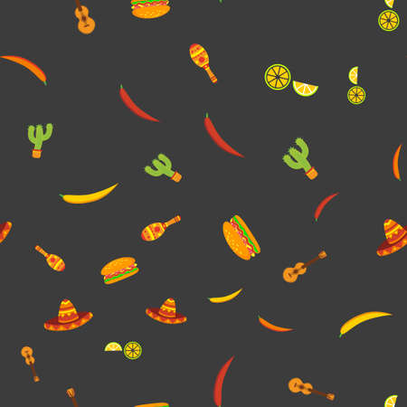 Pattern with Traditional Mexican elements design