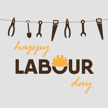 Happy Labour Day greeting card poster. Vector