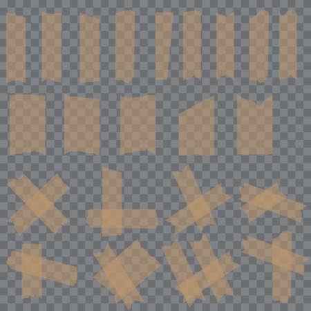 Set of sticky glue scotch tape pieces on transparent background. Vector