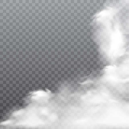 Realistic fog or smoke on transparent background vector. Illustration