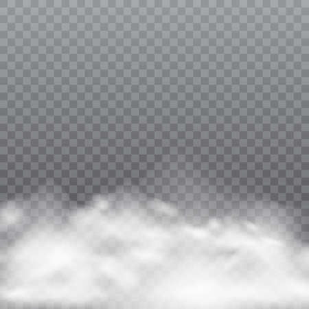 Realistic fog or smoke on transparent background. Vector illustration. Иллюстрация