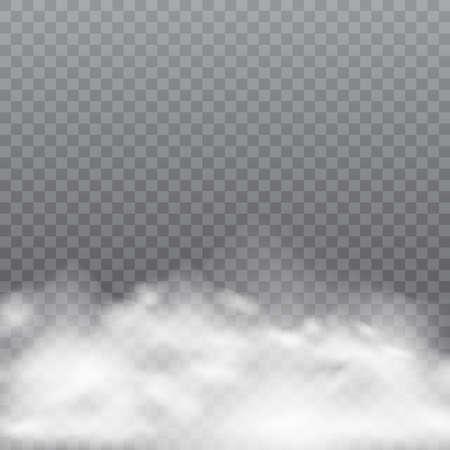 Realistic fog or smoke on transparent background. Vector illustration. Illustration