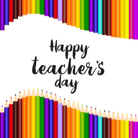 Happy teachers day greeting card template design Ilustração