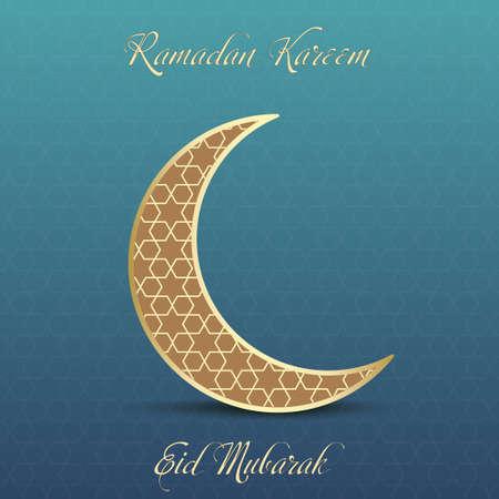 Ramadan greeting card with golden moon. Vector illustration. Illustration