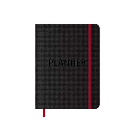 Realistic black leather planner book. Vector