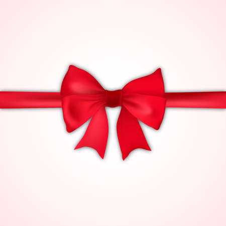 Realistic red bow and satin on white background. Vector