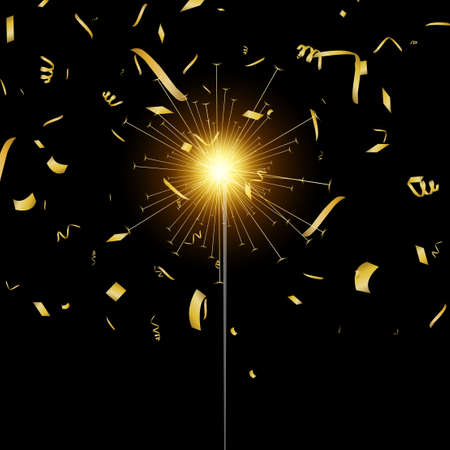 Falling gold confetti and bengal lights. Vector Illustration