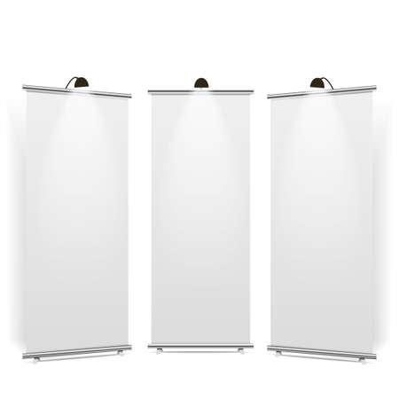 Leere Roll-up-Banner-Anzeige, isoliert mit Beschneidungspfad. Vektor.