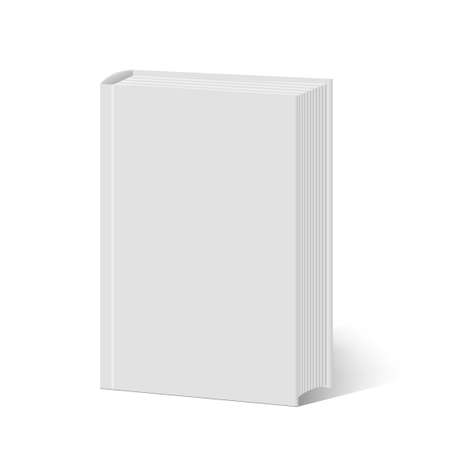 Blank vertical book cover template with pages. Vector