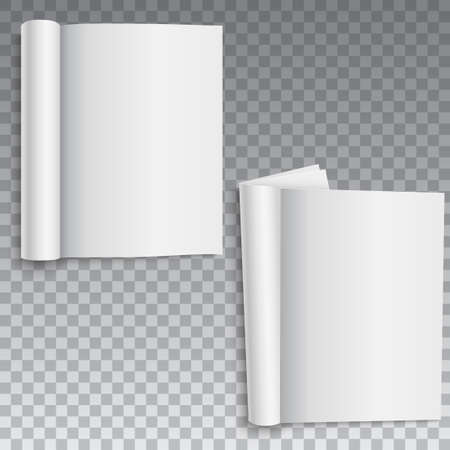 Blank of book, catalog or brochure with rolled sheets. Vector