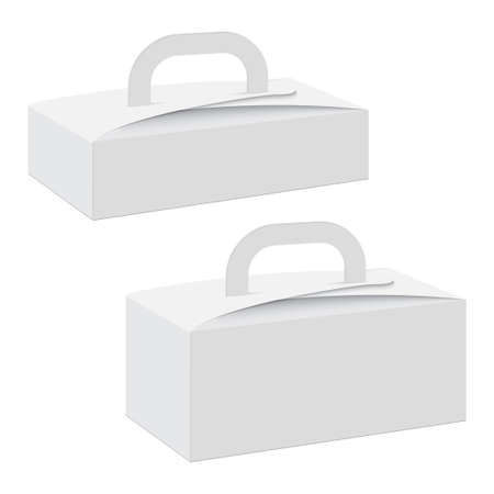 Blank of cardboard gift box with handle. Vector