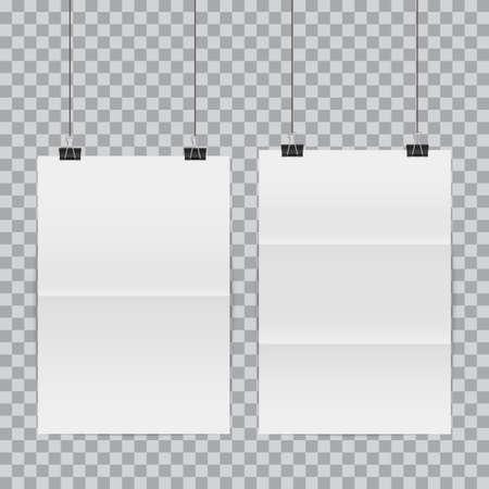 White poster hanging on binder. Vector illustration Stock Illustratie