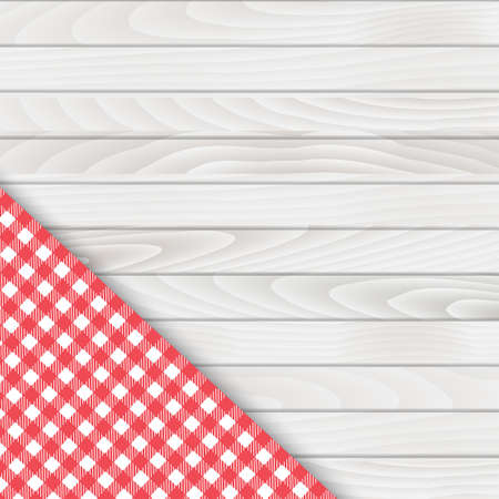 Red corner tablecloth on white wood table. Vector