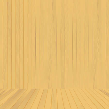 Brown wood floor and wall background for your design. Vector