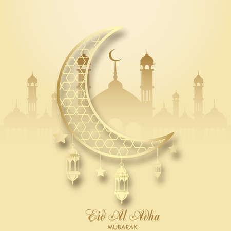 Eid Al Adha greeting card with crescent and islamic lantern. Vector