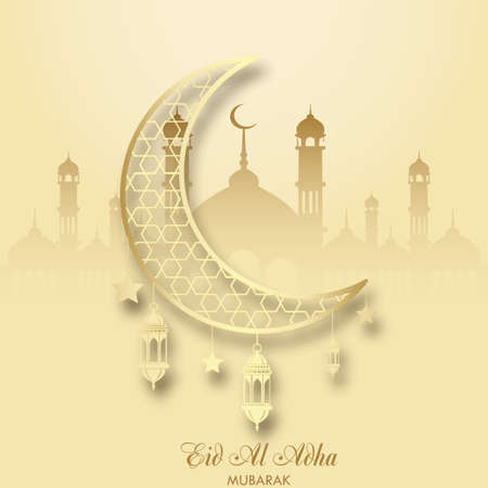 Eid Al Adha greeting card with crescent and islamic lantern. Vector