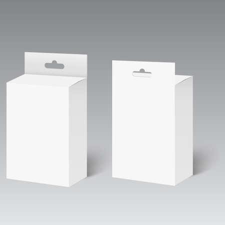 Caja de paquete de producto blanco con ranura para colgar. Bosquejo. Vector