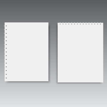 垂直および水平スパイラルノートブックテンプレート。ベクトル