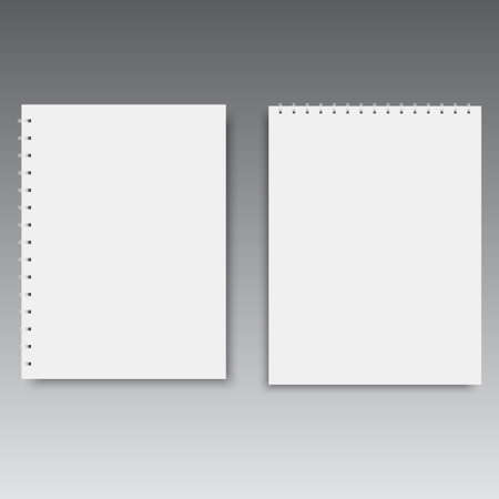 Vertical and horizontal spiral notebook template. Vector