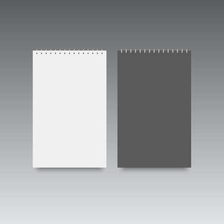 Blank of spiral notebook template mock up. Black and white covers. Vector.