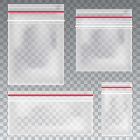 Bolsas de plástico transparentes vacías. Bolsa con cremallera al vacío en blanco. contenedor de polietileno sobre fondo transparente. Vector