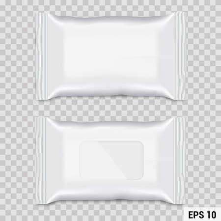 Embalaje de flujo de toallita húmeda realista. Vector