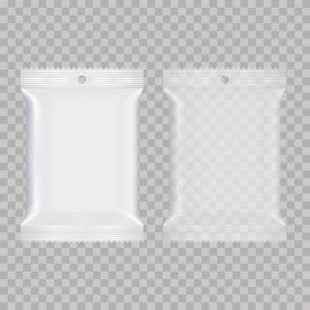 Bolsas de almohada de bocadillos de comida realistas. Bosquejo. Vector. Se puede utilizar para la plantilla de su diseño, presentación, promoción.