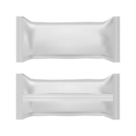 Realistic food snack pillow bags. Front and back view. Mock up. Vector.