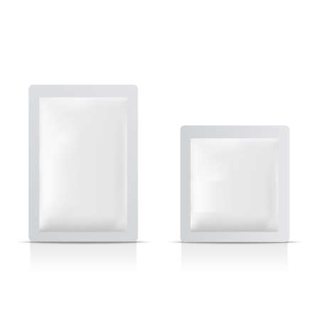 Blank of sachet packaging for food and cosmetic. Mock up. Vector.
