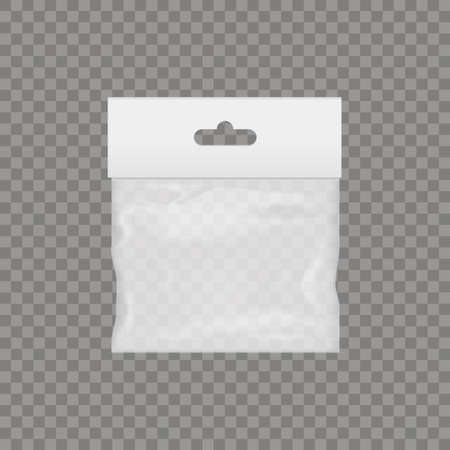 Blank of transparent plastic pocket bag with hand slot. Vector.