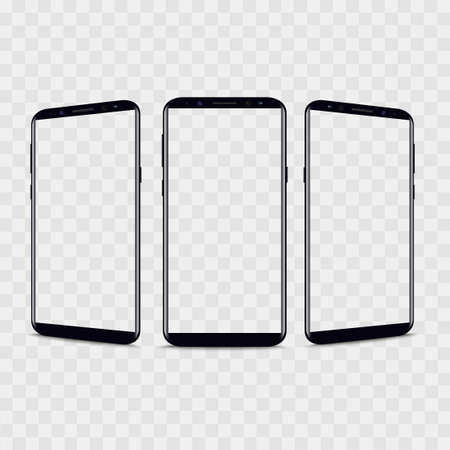 Realistic smartphone from different views with transparent background. Vector