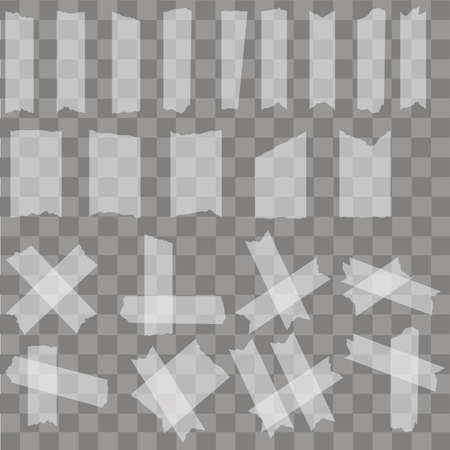 Set of sticky glue  pieces on transparent background. Vector
