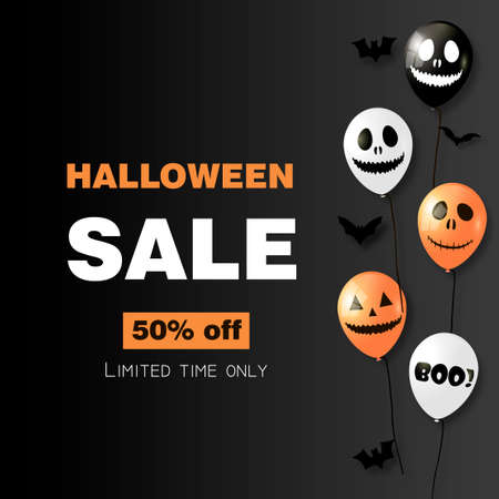 Halloween sale card with air balloons on black background. Vector.