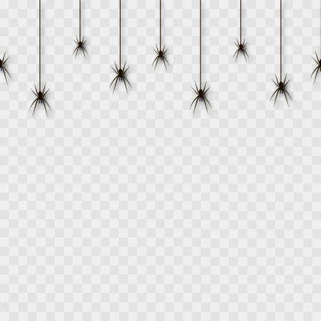 Seamless pattern with hanging spiders on transparent background. Vector Çizim