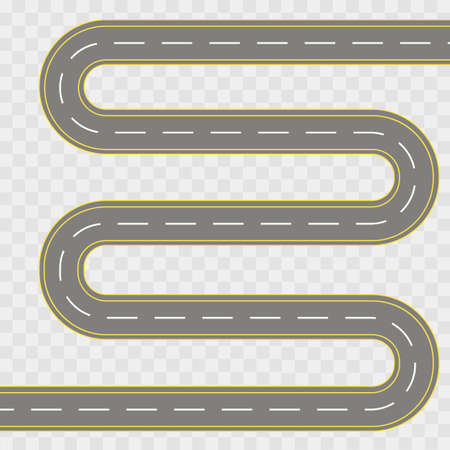Vector illustration of winding curved road