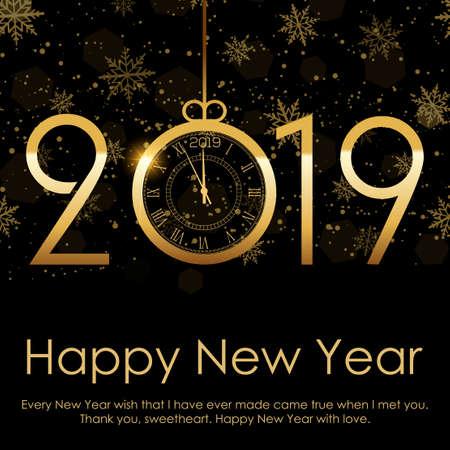 Felice anno nuovo e sfondo di Natale con neve d'oro che cade. 2019. Vettore.