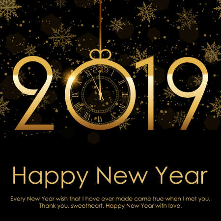 Frohes neues Jahr und Weihnachtshintergrund mit fallendem Goldschnee. 2019. Vektor.