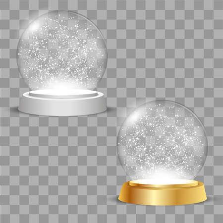 Christmas globes on transparent background. Vector Illustration