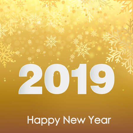 Happy New Year greeting card with falling snowflakes. 2019. Vector.  イラスト・ベクター素材