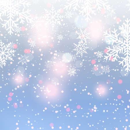 Unscharfer Weihnachtshintergrund mit Schneeflocken und blauem Himmel. Vektor.
