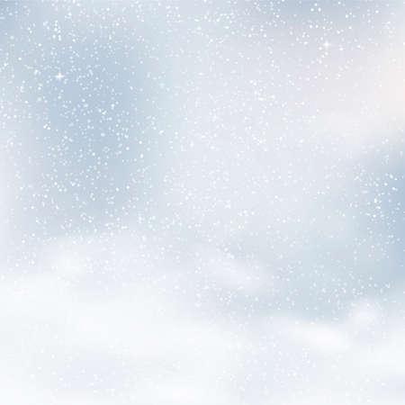 Fondo de Navidad borroso con copos de nieve y cielo azul. Vector.